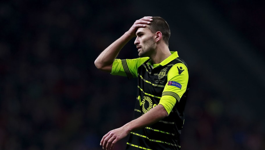 MADRID, SPAIN - APRIL 05: Bas Dost of Sporting CP reacts during the UEFA Europa League quarter final leg one match between Club Atletico Madrid and Sporting CP at Wanda Metropolitano stadium on April 5, 2018 in Madrid, Spain. (Photo by Gonzalo Arroyo Moreno/Getty Images)