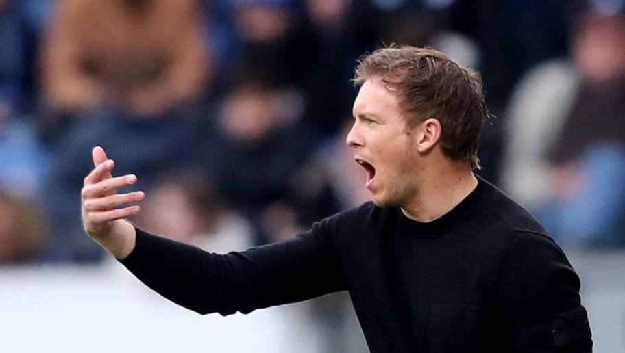 SINSHEIM, GERMANY - MARCH 31: Head coach Julian Nagelsmann of Hoffenheim reacts during the Bundesliga match between TSG 1899 Hoffenheim and 1. FC Koeln at Wirsol Rhein-Neckar-Arena on March 31, 2018 in Sinsheim, Germany.