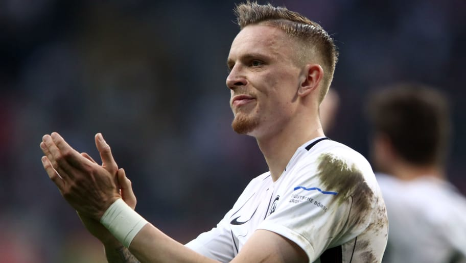 FRANKFURT AM MAIN, GERMANY - APRIL 08: Marius Wolf of Frankfurt reacts after the Bundesliga match between Eintracht Frankfurt and TSG 1899 Hoffenheim at Commerzbank-Arena on April 08, 2018 in Frankfurt am Main, Germany. (Photo by Alex Grimm/Bongarts/Getty Images)