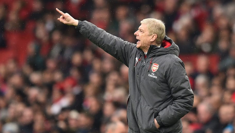Arsenal's French manager Arsene Wenger gestures during the English Premier League football match between Arsenal and Southampton at the Emirates Stadium in London on April 8, 2018.  / AFP PHOTO / Glyn KIRK / RESTRICTED TO EDITORIAL USE. No use with unauthorized audio, video, data, fixture lists, club/league logos or 'live' services. Online in-match use limited to 75 images, no video emulation. No use in betting, games or single club/league/player publications.  /         (Photo credit should read GLYN KIRK/AFP/Getty Images)