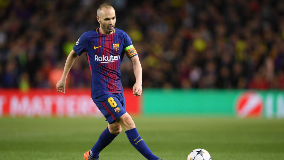 BARCELONA, SPAIN - APRIL 04:  Andres Iniesta of Barcelona in action during the UEFA Champions League Quarter Final Leg One between FC Barcelona and AS Roma at Camp Nou on April 4, 2018 in Barcelona, Spain.  (Photo by Mike Hewitt/Getty Images)