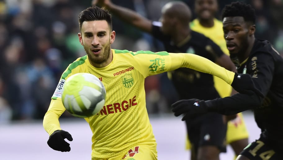 Nantes' French midfielder Adrien Thomasson runs for the ball during the French L1 football match between Saint-Etienne (ASSE) and Nantes (FCN) on December  3, 2017, at the Geoffroy Guichard stadium in Saint-Etienne, central-eastern France.   / AFP PHOTO / ROMAIN LAFABREGUE        (Photo credit should read ROMAIN LAFABREGUE/AFP/Getty Images)
