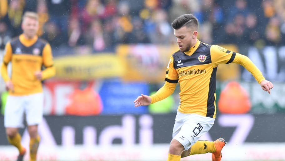 INGOLSTADT, GERMANY - MARCH 18: Sascha Horvath of Dresden plays the ball during the Second Bundesliga match between FC Ingolstadt 04 and SG Dynamo Dresden at Audi Sportpark on March 18, 2018 in Ingolstadt, Germany. (Photo by Sebastian Widmann/Bongarts/Getty Images)