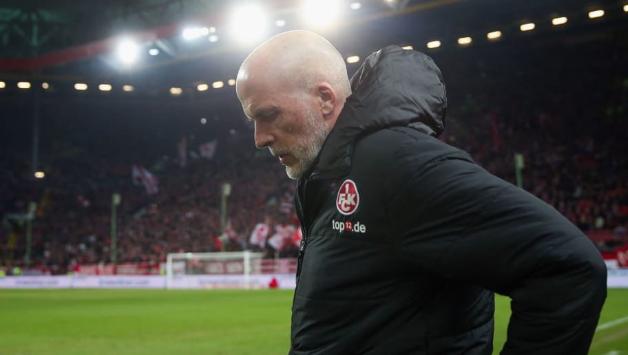 KAISERSLAUTERN, GERMANY - FEBRUARY 16: Head coach Michael Frontzeck of Kaiserslautern reacts during the Second Bundesliga match between 1. FC Kaiserslautern and SV Sandhausen at Fritz-Walter-Stadion on February 16, 2018 in Kaiserslautern, Germany.  (Photo by Alex Grimm/Bongarts/Getty Images)