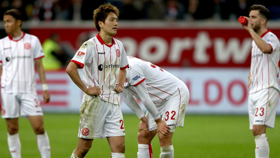 DUESSELDORF, GERMANY - APRIL 06: Genki Haraguchi of Duesseldorf looks dejected after the Second Bundesliga match between Fortuna Duesseldorf and VfL Bochum 1848 at Esprit-Arena on April 6, 2018 in Duesseldorf, Germany. The match between Duesseldorf and Bochum ended 1-2. (Photo by Christof Koepsel/Bongarts/Getty Images)