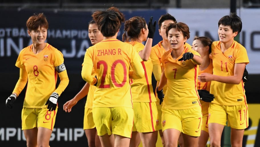 CHIBA, JAPAN - DECEMBER 15:  Wang Shanshan (3rd R) of China celebrates scoring the opening goal with her team mates during the EAFF E-1 Women's Football Championship between South Korea and China at Fukuda Denshi Arena on December 15, 2017 in Chiba, Japan.  (Photo by Masashi Hara/Getty Images)