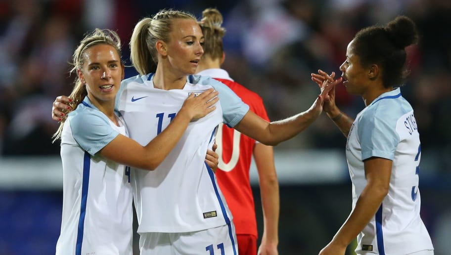 BIRKENHEAD, ENGLAND - SEPTEMBER 19:  Toni Duggan of England celebrates with Jordan Nobbs and Nikita Parris after scoring the fifth goal during the FIFA Women's World Cup Qualifier between England and Russia at Prenton Park on September 19, 2017 in Birkenhead, England.  (Photo by Alex Livesey/Getty Images)