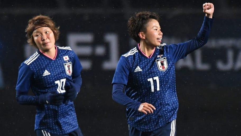 CHIBA, JAPAN - DECEMBER 08:  Mina Tanaka (R) of Japan celebrates scoring the opening goal during the EAFF E-1 Women's Football Championship between Japan and South Korea at Fukuda Denshi Arena on December 8, 2017 in Chiba, Japan.  (Photo by Masashi Hara/Getty Images)