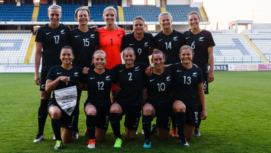 New Zealand's team pose for a photo ahead of the Cyprus Women's Cup football match between South Korea and New Zealand on March 6, 2017, in the city of Larnaca. / AFP PHOTO / Iakovos Hatzistavrou        (Photo credit should read IAKOVOS HATZISTAVROU/AFP/Getty Images)