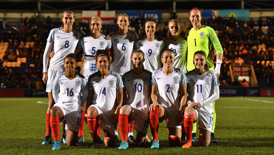 COLCHESTER, ENGLAND - NOVEMBER 28:  England players line up during the FIFA Women's World Cup Qualifier between England and Kazakhstan at Weston Homes Community Stadium on November 28, 2017 in Colchester, England.  (Photo by Dan Mullan/Getty Images)