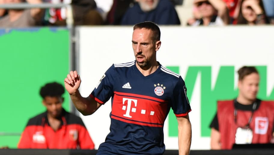 AUGSBURG, GERMANY - APRIL 07: Franck Ribery of Bayern Muenchen plays the ball during the Bundesliga match between FC Augsburg and FC Bayern Muenchen at WWK-Arena on April 7, 2018 in Augsburg, Germany. (Photo by Sebastian Widmann/Bongarts/Getty Images)