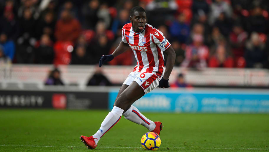 STOKE ON TRENT, ENGLAND - NOVEMBER 29:  Stoke player Kurt Zouma in action during the Premier League match between Stoke City and Liverpool at Bet365 Stadium on November 29, 2017 in Stoke on Trent, England.  (Photo by Stu Forster/Getty Images)