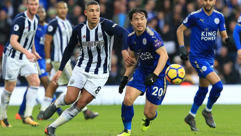 West Bromwich Albion's English midfielder Jake Livermore (centre L) vies with Leicester City's Japanese striker Shinji Okazaki during the English Premier League football match between West Bromwich Albion and Leicester City at The Hawthorns stadium in West Bromwich, central England, on March 10, 2018.  / AFP PHOTO / Lindsey PARNABY / RESTRICTED TO EDITORIAL USE. No use with unauthorized audio, video, data, fixture lists, club/league logos or 'live' services. Online in-match use limited to 75 images, no video emulation. No use in betting, games or single club/league/player publications.  /         (Photo credit should read LINDSEY PARNABY/AFP/Getty Images)
