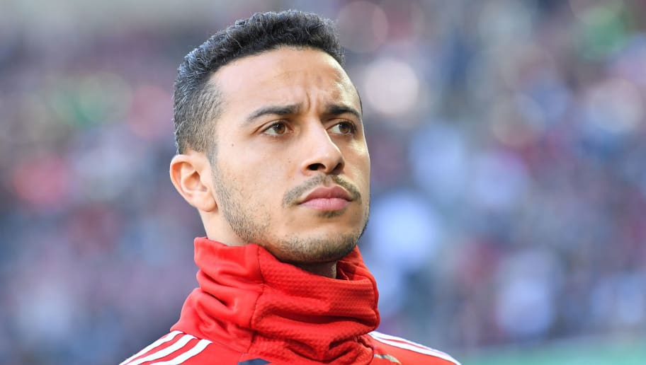 AUGSBURG, GERMANY - APRIL 07: Thiago Alcantara of Bayern Muenchen looks on prior to the Bundesliga match between FC Augsburg and FC Bayern Muenchen at WWK-Arena on April 7, 2018 in Augsburg, Germany. (Photo by Sebastian Widmann/Bongarts/Getty Images)