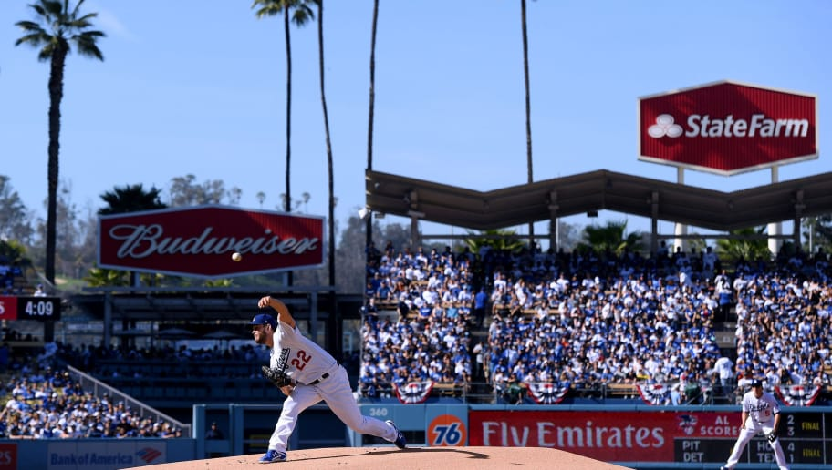 LOS ANGELES, CA - MARCH 29:  Clayton Kershaw #22 of the Los Angeles Dodgers pitches in the fourth inning against the San Francisco Giants during the 2018 Major League Baseball opening day at Dodger Stadium on March 29, 2018 in Los Angeles, California.  (Photo by Harry How/Getty Images)