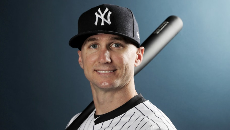 TAMPA, FL - FEBRUARY 21:  Shane Robinson #25 of the New York Yankees poses for a portrait during the New York Yankees photo day on February 21, 2018 at George M. Steinbrenner Field in Tampa, Florida.  (Photo by Elsa/Getty Images)