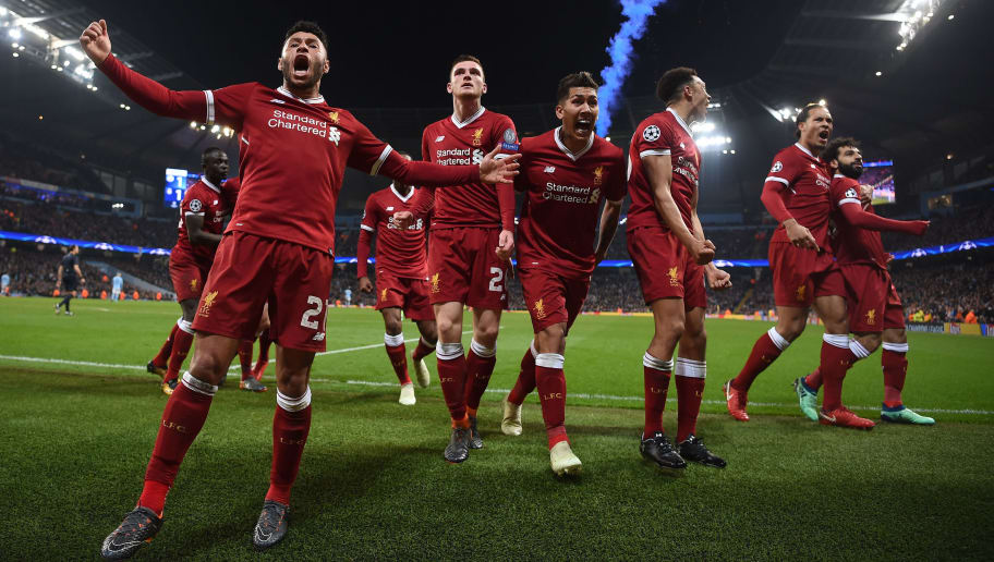 MANCHESTER, ENGLAND - APRIL 10:  The Liverpool players celebrates after their sides first goal during the UEFA Champions League Quarter Final Second Leg match between Manchester City and Liverpool at Etihad Stadium on April 10, 2018 in Manchester, England.  (Photo by Laurence Griffiths/Getty Images,)