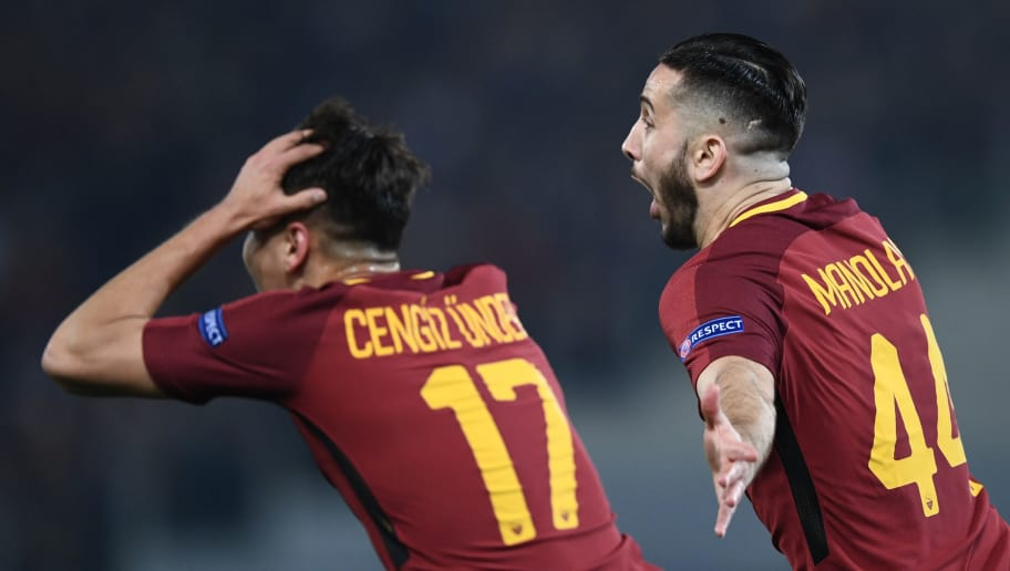 AS Roma's Greek defender Kostas Manolas celebrates after scoring a goal during the UEFA Champions League quarter-final second leg football match between AS Roma and FC Barcelona at the Olympic Stadium in Rome on April 10, 2018. / AFP PHOTO / Filippo MONTEFORTE        (Photo credit should read FILIPPO MONTEFORTE/AFP/Getty Images)