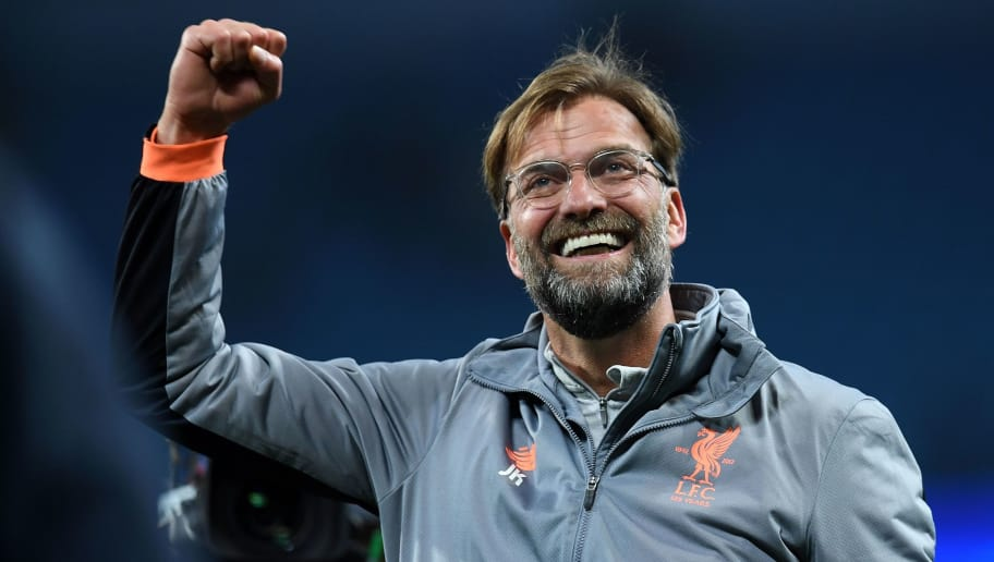 Liverpool's German manager Jurgen Klopp reacts following the UEFA Champions League second leg quarter-final football match between Manchester City and Liverpool, at the Etihad Stadium in Manchester, north west England on April 10, 2018. Liverpol won the match 2-1. / AFP PHOTO / Paul ELLIS        (Photo credit should read PAUL ELLIS/AFP/Getty Images)