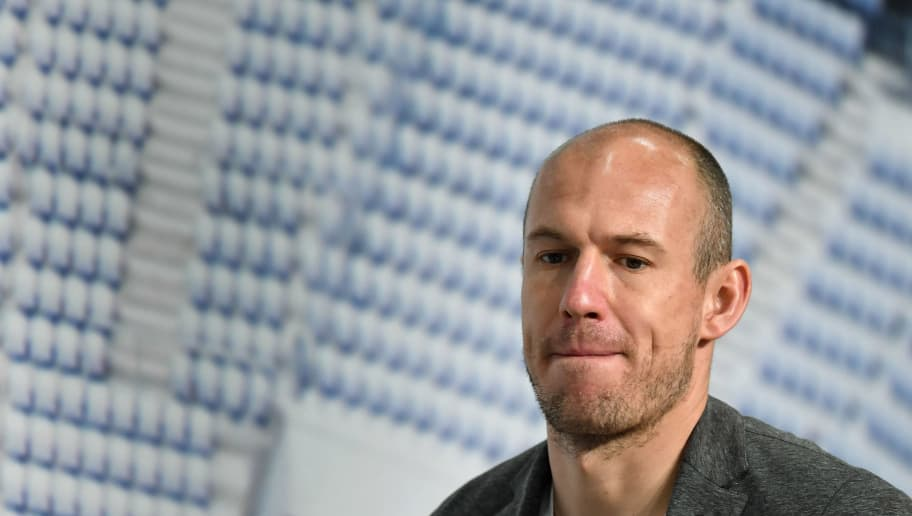 Bayern Munich's Dutch midfielder Arjen Robben arrives for a press conference on April 10, 2018 in Munich, southern Germany,  on the eve of the UEFA Champions League second leg quarter-final football match between Munich and Sevilla.  / AFP PHOTO / Christof STACHE        (Photo credit should read CHRISTOF STACHE/AFP/Getty Images)