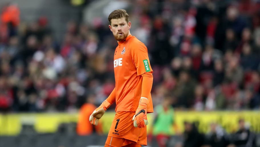 COLOGNE, GERMANY - MARCH 04: Timo Horn of Koeln looks dejected during the Bundesliga match between 1. FC Koeln and VfB Stuttgart at RheinEnergieStadion on March 4, 2018 in Cologne, Germany. The match between Koeln and Stuttgart ended 2-3. (Photo by Christof Koepsel/Bongarts/Getty Images)