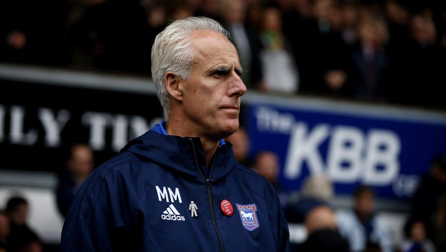 IPSWICH, ENGLAND - OCTOBER 22:  Ipswich Town manager Mick McCarthy during the Sky Bet Championship match between Ipswich Town and Norwich City at Portman Road on October 22, 2017 in Ipswich, England. (Photo by Stephen Pond/Getty Images)