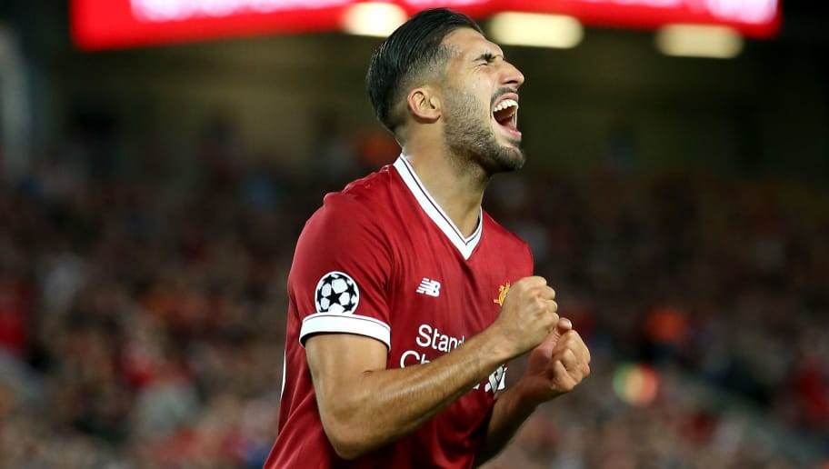 LIVERPOOL, ENGLAND - AUGUST 23: Emre Can of Liverpool reacts during the UEFA Champions League Qualifying Play-Offs round second leg match between Liverpool FC and 1899 Hoffenheim at Anfield on August 23, 2017 in Liverpool, United Kingdom.  (Photo by Jan Kruger/Bongarts/Getty Images)