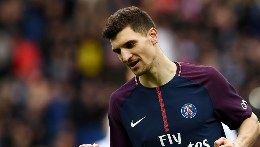 Paris Saint-Germain's Belgian defender Thomas Meunier celebrates after scoring the opening goal during the French Ligue 1 football match between Paris Saint-Germain and Metz at the Parc des Princes stadium in Paris on March 10, 2018. / AFP PHOTO / FRANCK FIFE        (Photo credit should read FRANCK FIFE/AFP/Getty Images)
