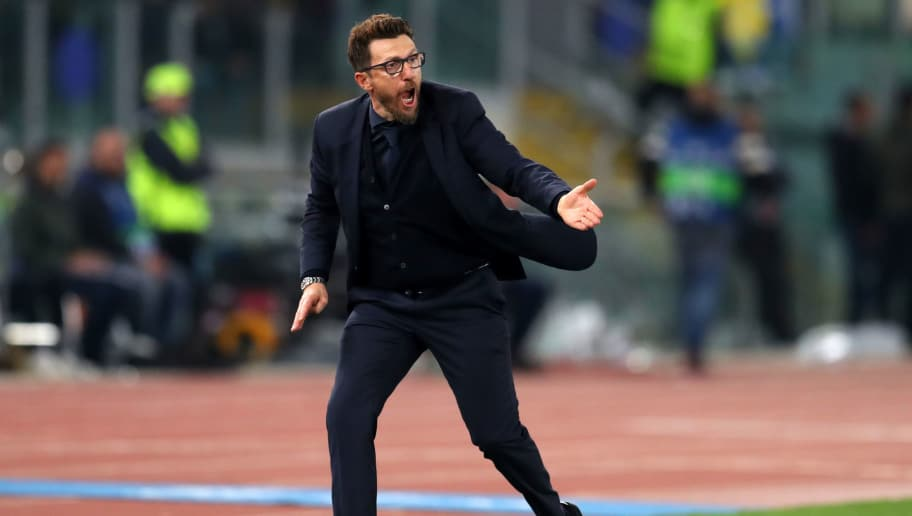 ROME, ITALY - APRIL 10: Eusebio Di Francesco manager / head coach of AS Roma during the UEFA Champions League Quarter Final second leg between AS Roma and FC Barcelona  at Stadio Olimpico on April 10, 2018 in Rome, Italy. (Photo by Catherine Ivill/Getty Images)