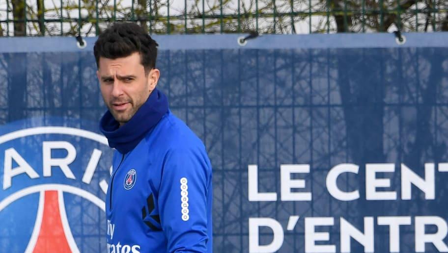 Paris Saint-Germain's Italian midfielder Thiago Motta looks on during a training session at Saint-Germain-en-Laye on the outskirts of Paris on February 9, 2018.  / AFP PHOTO / ALAIN JOCARD        (Photo credit should read ALAIN JOCARD/AFP/Getty Images)