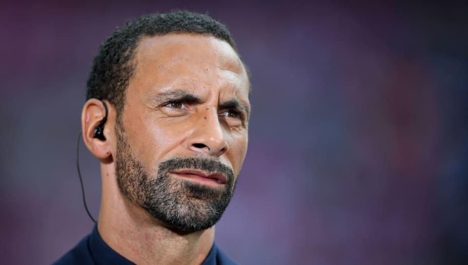 LONDON, ENGLAND - MAY 27:  Rio Ferdinand of BT Sport looks on during the Emirates FA Cup Final between Arsenal and Chelsea at Wembley Stadium on May 27, 2017 in London, England.  (Photo by Laurence Griffiths/Getty Images)