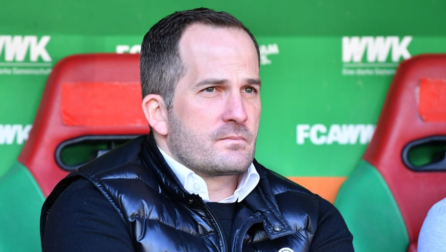 AUGSBURG, GERMANY - APRIL 07: Head coach Manuel Baum of Augsburg looks on prior to the Bundesliga match between FC Augsburg and FC Bayern Muenchen at WWK-Arena on April 7, 2018 in Augsburg, Germany. (Photo by Sebastian Widmann/Bongarts/Getty Images)