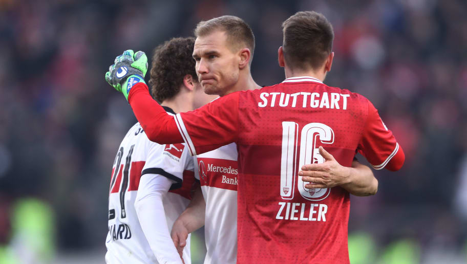 STUTTGART, GERMANY - FEBRUARY 24: (L-R:) Benjamin Pavard of Stuttgart, Holger Badstuber of Stuttgart and Ron-Robert Zieler of Stuttgart celebrate after the Bundesliga match between VfB Stuttgart and Eintracht Frankfurt at Mercedes-Benz Arena on February 24, 2018 in Stuttgart, Germany. (Photo by Alex Grimm/Bongarts/Getty Images)
