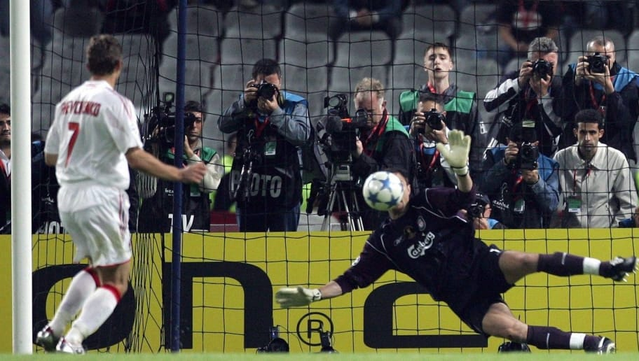 Liverpool's Polish goalkeeper Jerzy Dudek (R) saves a penalty kick by AC Milan's Ukrainian forward Andriy Shevchenko to win the UEFA Champions league football final, 25 May 2005 at the Ataturk Stadium in Istanbul. Liverpool won 3-2 on penalties. AFP PHOTO FILIPPO MONTEFORTE        (Photo credit should read FILIPPO MONTEFORTE/AFP/Getty Images)