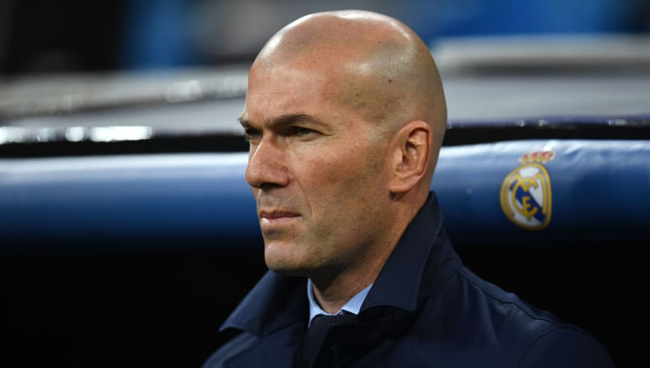 MADRID, SPAIN - APRIL 11:  Zinedine Zidane, Manager of Real Madrid looks on prior to the UEFA Champions League Quarter Final Second Leg match between Real Madrid and Juventus at Estadio Santiago Bernabeu on April 11, 2018 in Madrid, Spain.  (Photo by David Ramos/Getty Images)