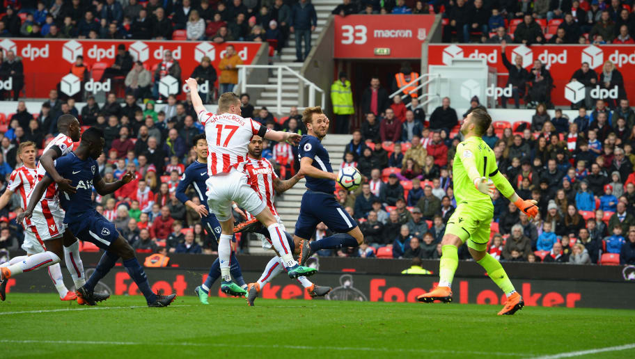 STOKE ON TRENT, ENGLAND - APRIL 07:  Harry Kane of Tottenham Hotspur scores their second goal during the Premier League match between Stoke City and Tottenham Hotspur at Bet365 Stadium on April 7, 2018 in Stoke on Trent, England.  (Photo by Tony Marshall/Getty Images)