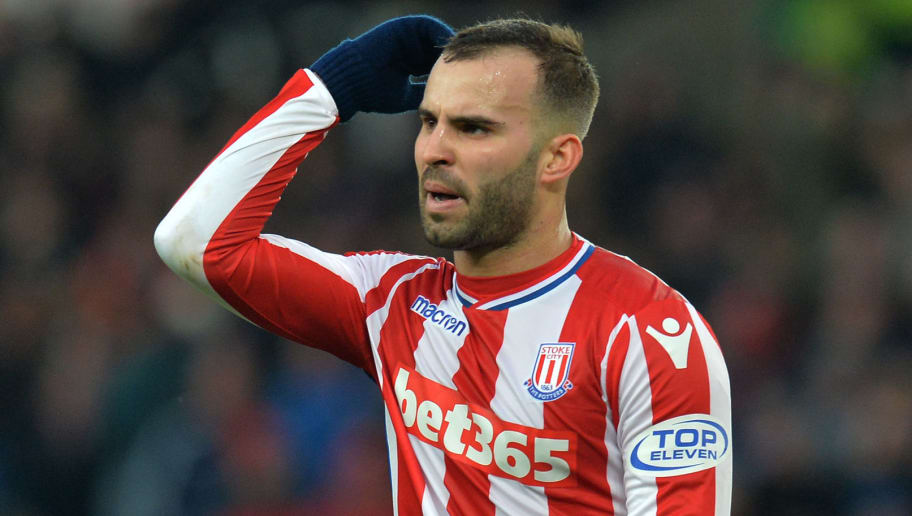 STOKE ON TRENT, ENGLAND - FEBRUARY 10: Jese of Stoke City argues with his team mates over who will take the penalty in the final moments of the game during the Premier League match between Stoke City and Brighton and Hove Albion at Bet365 Stadium on February 10, 2018 in Stoke on Trent, England. (Photo by Mark Runnacles/Getty Images)