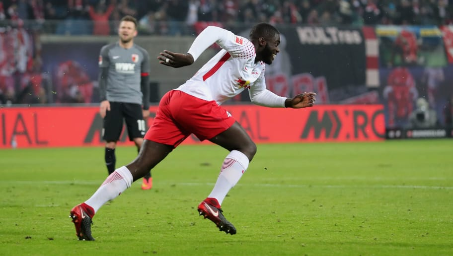LEIPZIG, GERMANY - FEBRUARY 09:  Dayot Upamecano of RB Leipzig celebrates after scoring his team's first goal during the Bundesliga match between RB Leipzig and FC Augsburg at Red Bull Arena on February 9, 2018 in Leipzig, Germany.  (Photo by Boris Streubel/Bongarts/Getty Images)