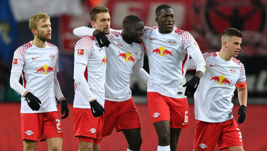 LEIPZIG, GERMANY - MARCH 18:  Konrad Laimer, Stefan Ilsanker, Ibrahima KonatŽ, Dayot Upamecano and Diego Demme of Leipzig celebrate after the Bundesliga match between RB Leipzig and FC Bayern Muenchen at Red Bull Arena on March 18, 2018 in Leipzig, Germany.  (Photo by Stuart Franklin/Bongarts/Getty Images)