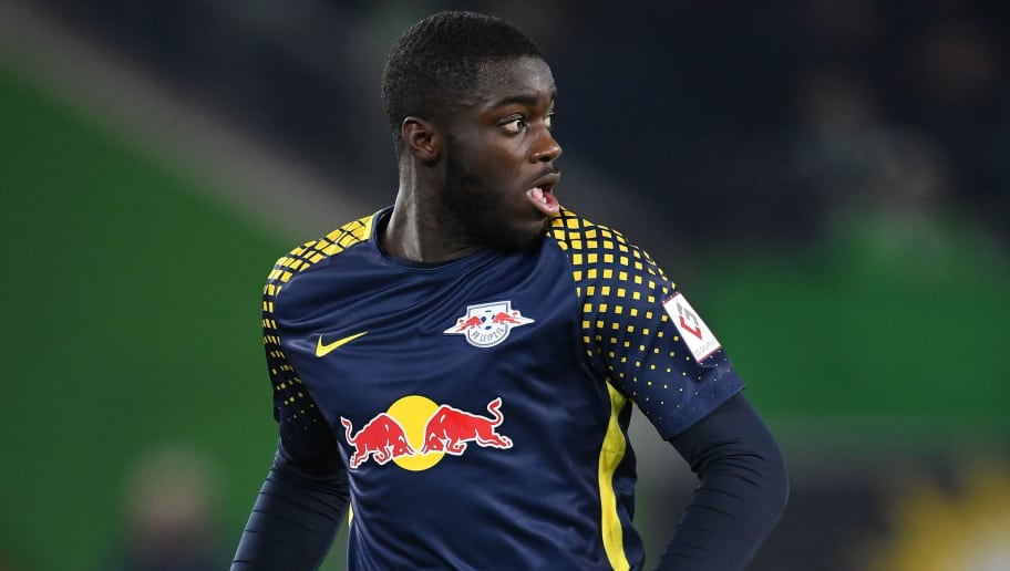WOLFSBURG, GERMANY - DECEMBER 12:  Dayot Upamecano of Leipzig in action during the Bundesliga match between VfL Wolfsburg and RB Leipzig at Volkswagen Arena on December 12, 2017 in Wolfsburg, Germany.  (Photo by Stuart Franklin/Bongarts/Getty Images)