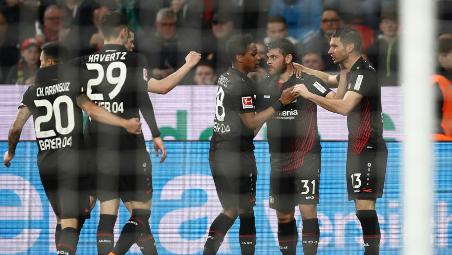 LEVERKUSEN, GERMANY - MARCH 10: Lucas Alario of Leverkusen (13 right) celebrates with his team after he scored a goal to make it 1:0 during the Bundesliga match between Bayer 04 Leverkusen and Borussia Moenchengladbach at BayArena on March 10, 2018 in Leverkusen, Germany. (Photo by Maja Hitij/Bongarts/Getty Images)