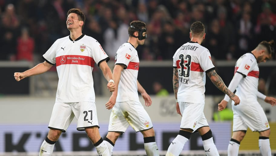 STUTTGART, GERMANY - JANUARY 13: Mario Gomez of Stuttgart (l, 27) celebrates after Niklas Stark of Berlin (not pictured) scored an own goal to make it 1:0 during the Bundesliga match between VfB Stuttgart and Hertha BSC at Mercedes-Benz Arena on January 13, 2018 in Stuttgart, Germany. (Photo by Matthias Hangst/Bongarts/Getty Images)