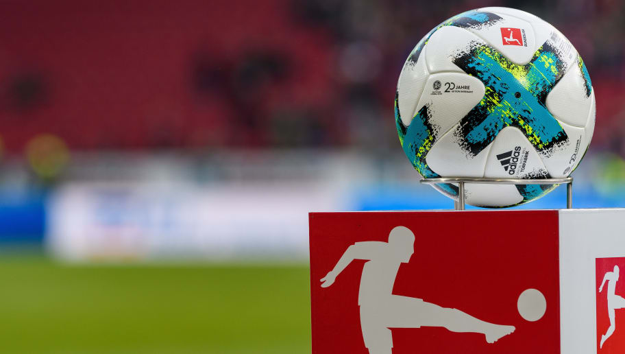 MAINZ, GERMANY - DECEMBER 02: The matchball is seen with the logo '20 Jahre Ehrenamt' during the Bundesliga match between 1. FSV Mainz 05 and FC Augsburg at Opel Arena on December 2, 2017 in Mainz, Germany. (Photo by Alexander Scheuber/Bongarts/Getty Images)