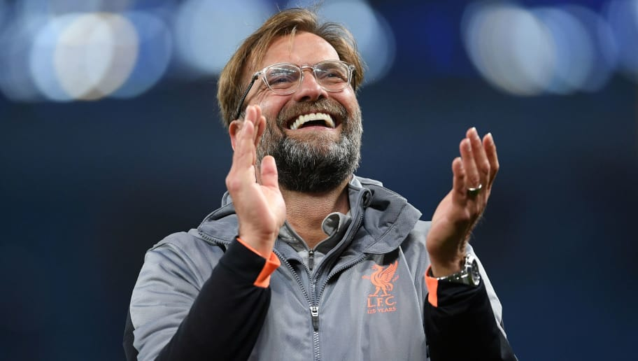 MANCHESTER, ENGLAND - APRIL 10: Jurgen Klopp of Liverpool applauds the fans after victory in the Quarter Final Second Leg match between Manchester City and Liverpool at Etihad Stadium on April 10, 2018 in Manchester, England.  (Photo by Laurence Griffiths/Getty Images,)