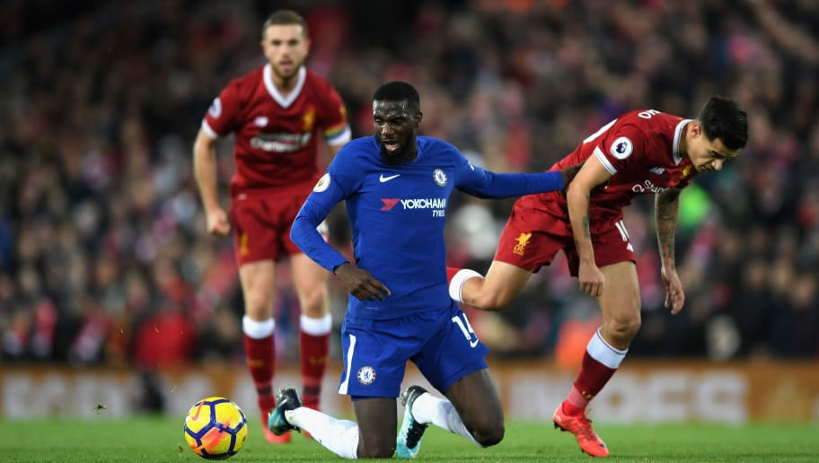 LIVERPOOL, ENGLAND - NOVEMBER 25:  Philippe Coutinho of Liverpool fouls Tiemoue Bakayoko of Chelsea during the Premier League match between Liverpool and Chelsea at Anfield on November 25, 2017 in Liverpool, England.  (Photo by Shaun Botterill/Getty Images)