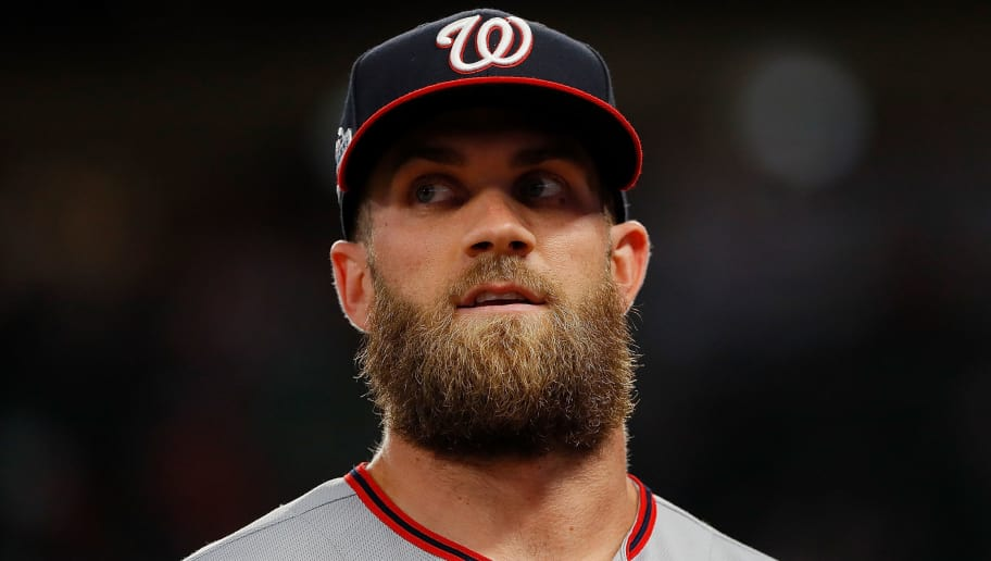 ATLANTA, GA - APRIL 03:  Bryce Harper #34 of the Washington Nationals walks off the field after the third inning against the Atlanta Braves at SunTrust Park on April 3, 2018 in Atlanta, Georgia.  (Photo by Kevin C. Cox/Getty Images)