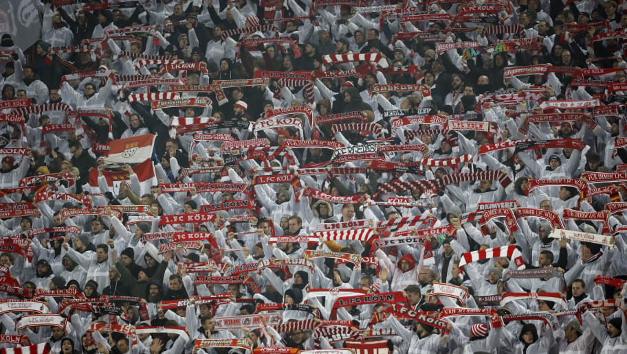BELGRADE, SERBIA - DECEMBER 07: FC Koeln fans give their support prior to the UEFA Europa League group H match between Crvena Zvezda and 1. FC Koeln at stadium Rajko Mitic on December 7, 2017 in Belgrade, Serbia. (Photo by Srdjan Stevanovic/Getty Images)