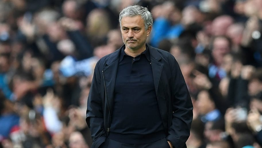 Manchester United's Portuguese manager Jose Mourinho reacts during the English Premier League football match between Manchester City and Manchester United at the Etihad Stadium in Manchester, north west England, on April 7, 2018. / AFP PHOTO / Paul ELLIS / RESTRICTED TO EDITORIAL USE. No use with unauthorized audio, video, data, fixture lists, club/league logos or 'live' services. Online in-match use limited to 75 images, no video emulation. No use in betting, games or single club/league/player publications.  /         (Photo credit should read PAUL ELLIS/AFP/Getty Images)