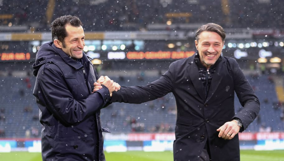 FRANKFURT AM MAIN, GERMANY - DECEMBER 09: Sport director Hasan Salihamidzic (L) of Muenchen and head coach Niko Kovac of Frankfurt shake hands prior to the Bundesliga match between Eintracht Frankfurt and FC Bayern Muenchen at Commerzbank-Arena on December 9, 2017 in Frankfurt am Main, Germany.  (Photo by Alex Grimm/Bongarts/Getty Images)