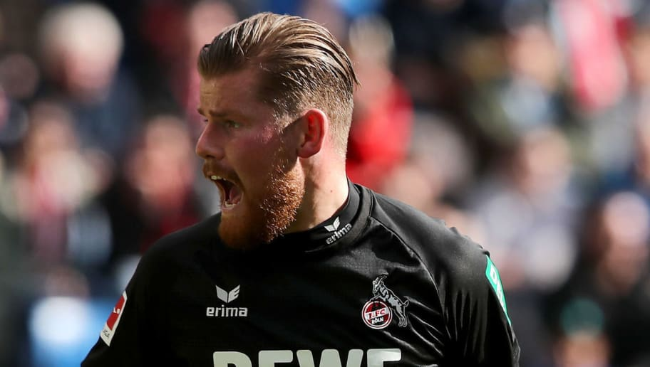 SINSHEIM, GERMANY - MARCH 31: Timo Horn of Koeln reacts during the Bundesliga match between TSG 1899 Hoffenheim and 1. FC Koeln at Wirsol Rhein-Neckar-Arena on March 31, 2018 in Sinsheim, Germany.